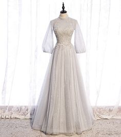 Gray tulle lace long prom dress long sleeve