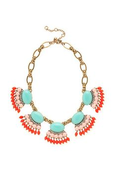 10 Turquoise Baubles To Make Every Spring Outfit A Little Cooler  J.Crew Fan Fringe Necklace