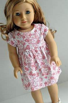American Girl Doll Clothes Cute Red and White Floral Print Knit Dress 18 inch American Girl Dress, American Girl Clothes, American Dolls, Doll Dress Patterns, Ag Doll Clothes, Girl Dolls, Ag Dolls, Handmade Clothes, Girl Fashion