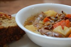 Dublin Coddle: This. Is. So. Good.  A stew like dish made with potatoes, carrots, sausage links and bacon, all simmered together in a base of apple cider for a salty sweetness that permeates the vegetables. Serve with a side of Irish Soda Bread and you will be feeling the St. Patrick's Day love. -- The Nourishing Gourmet