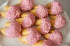 Pink frosted fortune cookies, yum!