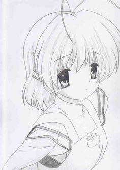 Drawing of Nagisa Furukawa from Clannad