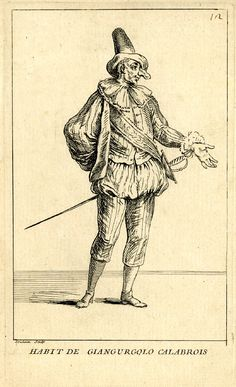 Man with tall hat, fake, long nose and sash worn over striped costume, standing on white ground; illustration to Riccoboni's 'Histoire du th...   Habit de Giangurgolo calabrois