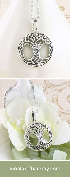 Intricate Celtic Knot Tree of Life Necklace In this gorgeous pendant, a Celtic knot is woven to form a perfectly symmetrical Tree of Life. The pendant has a slightly rounded shape, causing the light to move over its surface in a lively manner. Tree Of Life Jewelry, Tree Of Life Necklace, Love Necklace, Diamond Bar Necklace, Celtic Tree Of Life, Celtic Wedding Rings, Friendship Necklaces, Bff Gifts, Celtic Designs