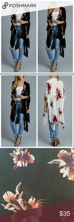 """COMING SOON Black garden party kimono. Super soft 100% viscose. 38"""" x 46"""". Dress up or down. Also available in ivory.  Bundle and save  Buy with confidence. Top rated seller Top 10% seller Fast shipper Accessories Scarves & Wraps"""