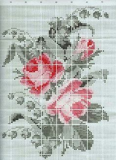 """Photo from album """"Старинные схемы"""" on Yandex. Silk Ribbon Embroidery, Embroidery Art, Cross Stitch Embroidery, Cross Stitch Patterns, Cute Cross Stitch, Cross Stitch Rose, Cross Stitch Flowers, Pixel Pattern, Plastic Canvas Patterns"""