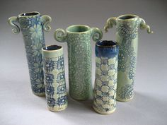 For the handles....Group of lace textured vases Jennifer Ranz