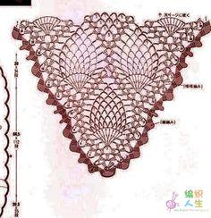 Este podría ser el ejemplo de gran shawl en piñas , si lo hacemos con puntos altos triples , quedarían unas piñas de grandes dimensiones ༺✿Olga Diezt https://www.pinterest.com/olgadiezt/✿༻