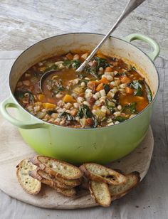 Weather is weird here in Nashville, and winter can fluctuate from a balmy 75 degrees to the upper 30s in a matter of days. No matter the temperature, though, once it hits January, I start craving a cozy soup to spill all over my books.This one comes from Barefoot Contessa Foolproof by Ina Garten:Winter Minestrone & Garlic BruschettaServes 6 to 8 Good olive oil 4 ounces pancetta, -inch-diced...