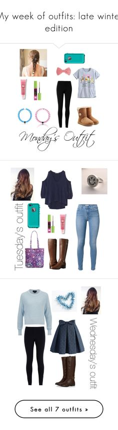 """""""My week of outfits: late winter edition"""" by gracelovespigs on Polyvore featuring Max Studio, UGG Australia, Maybelline, Lancôme, Missoni, LifeProof, women's clothing, women, female and woman"""