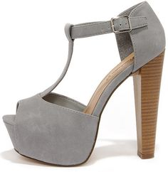 Care for a Lift? Grey T-Strap Peep Toe Platform Heels at Lulu's