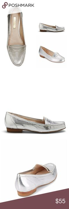 Louise Et Cie | Bitsy Metallic Snakeskin Loafers It may have a tiny name, but the Bitsy makes a memorable impression. A classic menswear-inspired shoe gets a diva-like twist. This penny loafer shines mightily in embossed metallic or patent faux snake. Emphasize the daring look with a tailored pant suit.  - Leather upper and lining, man-made sole - NWOT/NWOB - Leather foot insert shows mark from price sticker, not noticable when on - Soles show light marks from in store try on Louise et Cie…