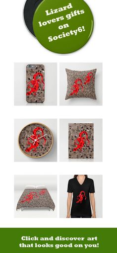 Red Lizard Collage is a product designed for reptile lovers. This collage looks like a mosaic or a camouflage pattern. Lizard products an ideal gift for wild Nature explorers! In this collection you will find products for home décor, wearables and more! Available from Society6!