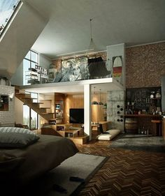 cozy industrial loft with concrete, wood and brick