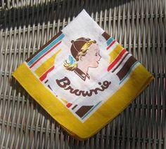 Vintage Brownie Girl Scout Hankie / 1950s Brownie Scout Handkerchief / Adorable Pocket Handkerchief