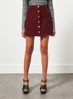 Miss Selfridge burgandy button-down cord skirt