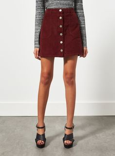 Miss Selfridge burgandy button-down cord skirt