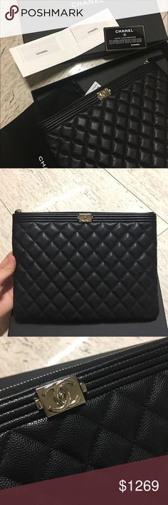 Brand new boy clutch O case medium Caviar Hard to get caviar! Sold out in store. Stunning to wear as casual and dressy CHANEL Bags Clutches & Wristlets