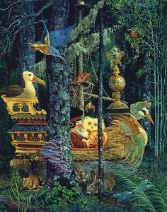 "artsytoad:  "" James C.Christensen, Boat in the Forest  www.artsytoad.tumblr.com  """