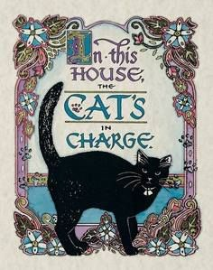 The cat's in charge - cat art Cool Cats, I Love Cats, Crazy Cat Lady, Crazy Cats, Cat Embroidery, Gatos Cool, Black Cat Art, Black Cats, Photo Chat