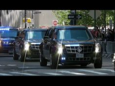 Motorcade of President Obama with Secret Service Suburbans Leaving the World Trade Center