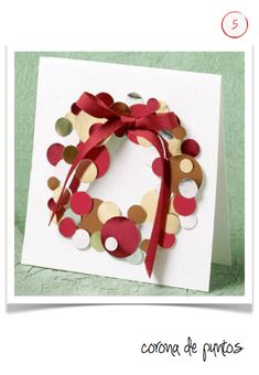 Christmas Thanks You Notes - Easy DIY Holiday Crafts - Paper Wreath with Red Bow - Click pic for 25 Handmade Christmas Cards Ideas for Kids Diy Holiday Cards, Holiday Crafts, Diy Cards, Diy Christmas Cards For Boyfriend, Xmas Cards Handmade, Creative Christmas Cards, Noel Christmas, Christmas Wreaths, Bubble Christmas