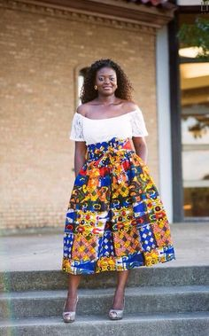 PatchWork Midi Skirt; African Clothing; African fashion; African Print; African Skirt; Summer Skirt; African Clothing; Rainbow skirt - pinned by pin4etsy.com