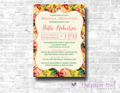 Floral Bridal Shower Invitation Shabby Chic by ThePaperTrailCo