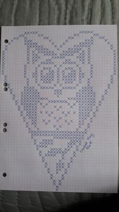 Crochet Heart Stitch Punto Croce Ideas For 2019 Filet Crochet, Crochet Chart, Crochet Doilies, Crochet Top, Cross Stitch Owl, Cross Stitch Animals, Cross Stitching, Cross Stitch Patterns, Owl Patterns