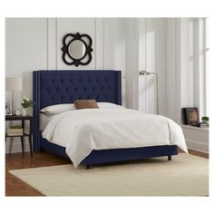 Louis Velvet Diamond Tufted Wingback Nail Button Bed - California King - Navy (Blue) - Skyline Furniture