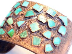 Chunky Vintage Bell Copper Turquoise Wide Cuff Bracelet