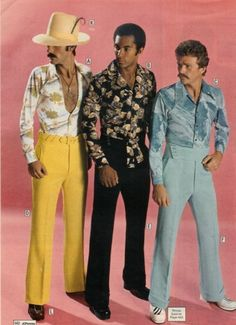 I definitely recall seeing men dressed this way.   Polyester pants...my boyfriend could rock them