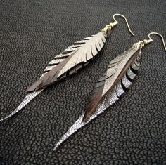 Treat yourself to these leather feather earrings - custom made to order.