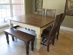 "54"" SQUARE FARM HOUSE TABLE w/ MATCHING BENCHES and CHAIRS"