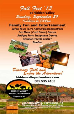 Family Fall fun at Hidden Valley Animal Adventure. Pumpkins, fun maze, games, safari tours and live animals.