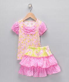 Baby Lulu Pink Floral Ruffle Top & Skirt