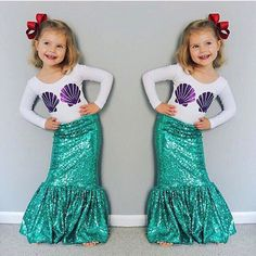 Autumn Toddler Children's Girls Mermaid Tail Costume Clothing Sets Long Sleeve Shell T shirt+Dress Kids Outfits Christmas(China (Mainland)) Toddler Mermaid Costumes, Girls Mermaid Costume, Mermaid Birthday Outfit, Mermaid Tail Costume, Mermaid Halloween Costumes, Girls Mermaid Tail, Ariel Costumes, Mermaid Kids, Halloween Costumes For Girls