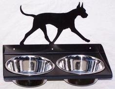 Great Dane Dog Feeder Metal Wall Mount Raised by ModernIron, $79.99