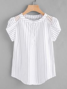 White Pinstripe Band Collar Eyelet Embroidered Petal Sleeve Blouse
