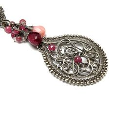 Silver wire wrapped pendant ruby pink romantic by MadeBySunflower, $220.00