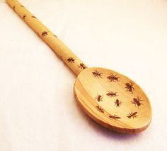 Personalized Beautiful Wooden Cooking Spoon decorated with Ant Design