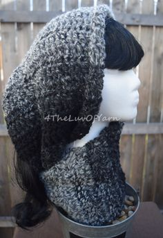 Infinity Scarf Circle Scarf Black and White Scarf by 4TheLuvOfYarn