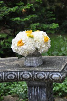 white hydrangeas and yellow roses White Hydrangeas, Yellow Roses, Flower Arrangements, Wedding Flowers, Floral Design, Centerpieces, Bouquet, Baby Shower, Club