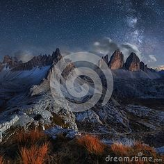 Alps Mountain Landscape With Night Sky And Mliky Way, Tre Cime D - Download From Over 58 Million High Quality Stock Photos, Images, Vectors. Sign up for FREE today. Image: 89793674