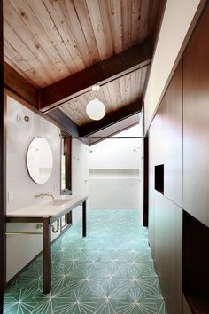 That floor! Japanese-Inspired Bainbridge Island house Master Bathroom