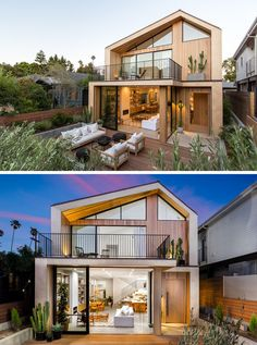 Architecture House Front At the front of this modern house, there's an outdoor living area that's surrounded by mature landscaping. House Front Design, Modern House Design, House With Porch, Building A New Home, Facade House, House Exteriors, California Homes, Facade Design, Cottage Design
