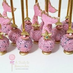Pink and gold mermaid cake pops
