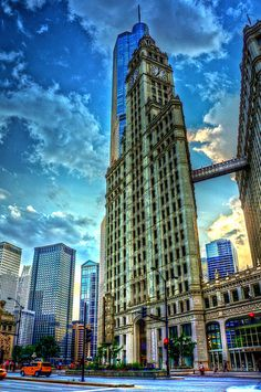 Wrigley Building and Trump Tower; Magnificent Mile; Chicago, IL