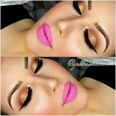 Brown and Gold Glitter Smokey Eye WithHot Pink Lips