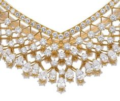 Detail; necklace from a gold and diamond demi-parure, Van Cleef and Arpels.